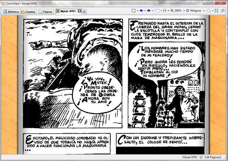 Pantalla de lectura de Comic Rack, mostrando una página del número 1 de Mytek