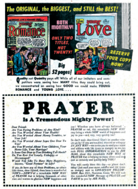 """Publicidad de """"Young Romance"""" 26 (1949), included in """"Young Love 15"""" (1950)"""