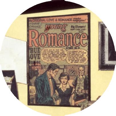 "Detalle del collage mostrando la portada de ""Young Romance"""